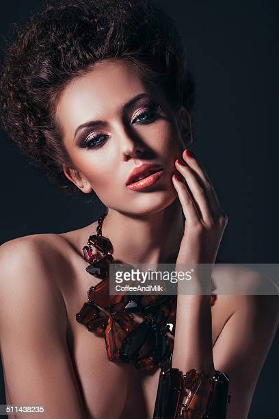 portrait of beautiful woman with jewelry - skin diamond stock pictures, royalty-free photos & images