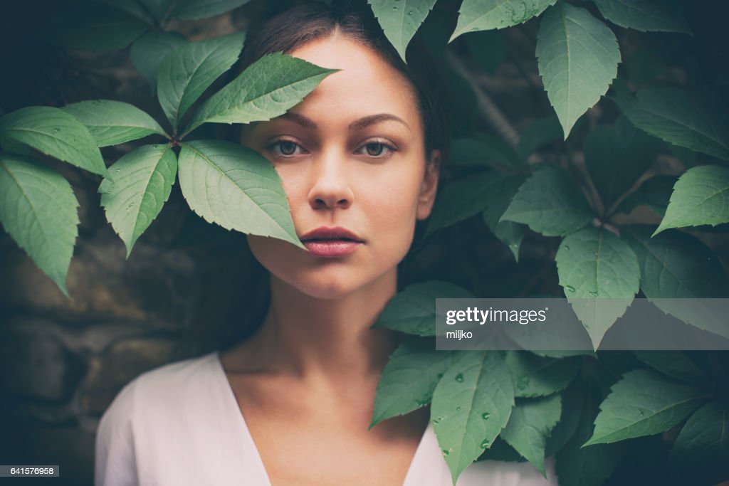 Portrait of beautiful woman without make-up : Stock Photo