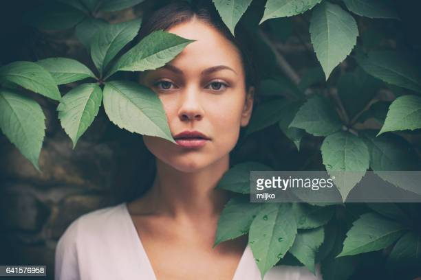 portrait of beautiful woman without make-up - green color stock pictures, royalty-free photos & images
