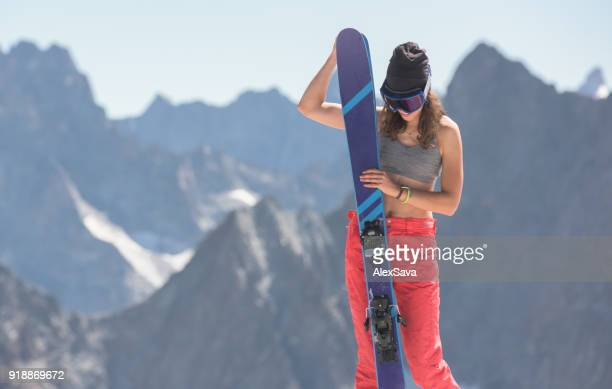 Portrait of beautiful young female skier