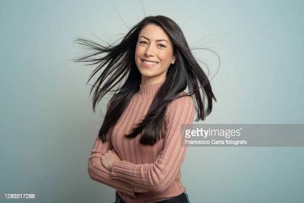 portrait of beautiful young lady - capelli neri foto e immagini stock