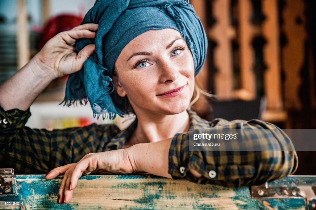 Portrait of Beautiful Young Restorer Woman : Stock Photo