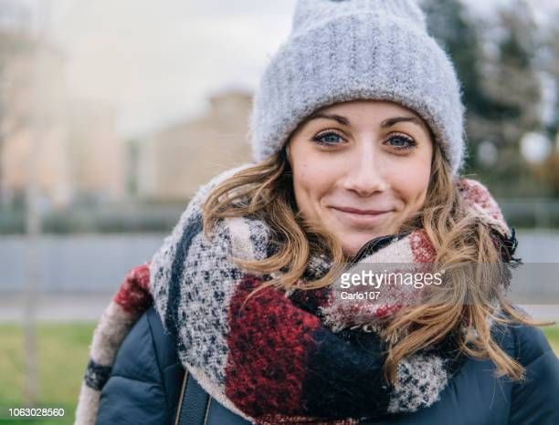 portrait of beautiful young woman in winter - winter stock pictures, royalty-free photos & images