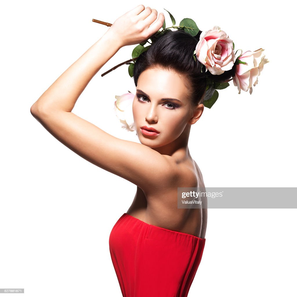 Portrait of beautiful young woman with flowers in hair stock photo portrait of beautiful young woman with flowers in hair stock photo izmirmasajfo