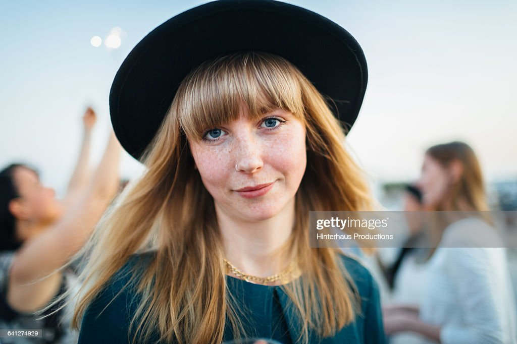 Portrait of beautiful young woman with hat : Foto de stock