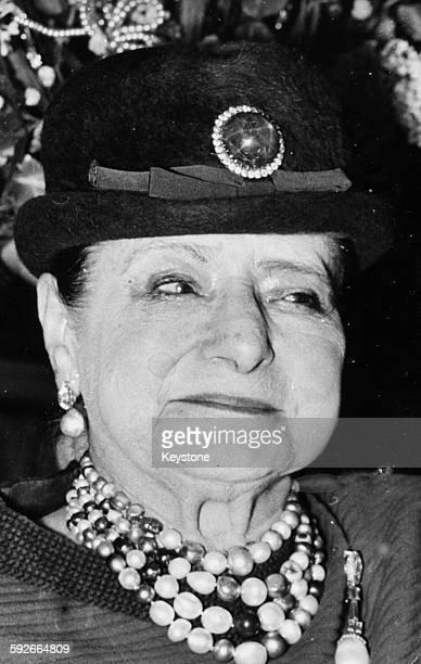 Portrait of beauty business magnate Helena Rubinstein circa 1960