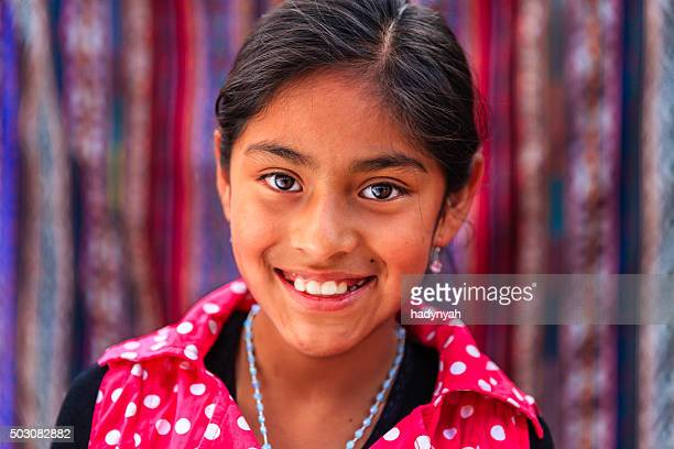 Portrait of beauty Peruvian girl in Pisac, The Sacred Valley