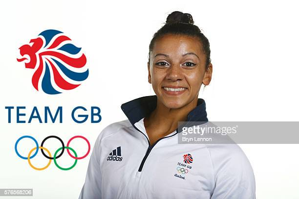 A portrait of Becky Downie a member of the Great Britain Olympic Gymnastics team during the Team GB Kitting Out ahead of Rio 2016 Olympic Games on...