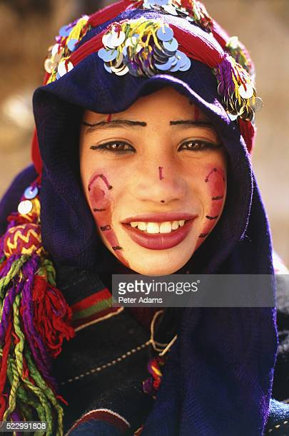 portrait of bedouin girl - african tribal face painting stock photos and pictures