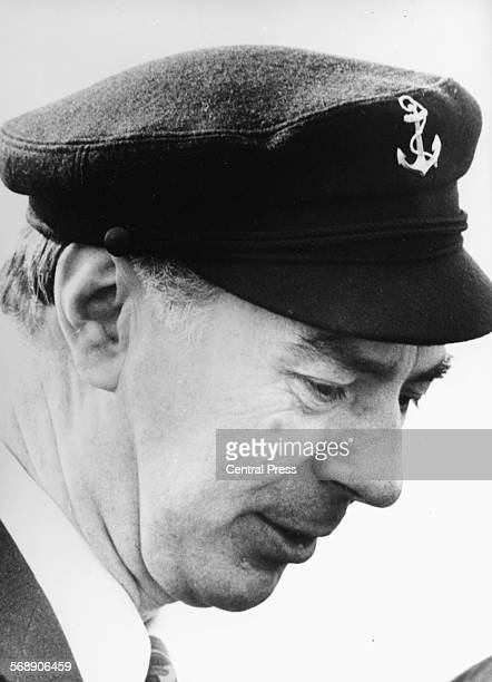 Portrait of Belgian Prime Minister Leo Tindemans wearing a sailors cap, May 11th 1977.