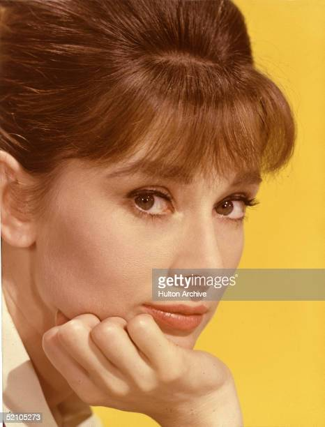 Portrait of Belgianborn American actress Audrey Hepburn poses with her chin on her hand early 1960s