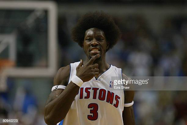 Portrait of Ben Wallace of the Detroit Pistons in Game six of the Eastern Conference Finals during the 2004 NBA Playoffs against the Indiana Pacers...