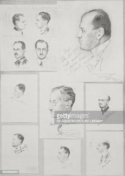 Portrait of Benito Mussolini and other blackshirts fascist gathering in Naples October 24 sketch by G Garzai from L'Illustrazione Italiana Year XLIX...