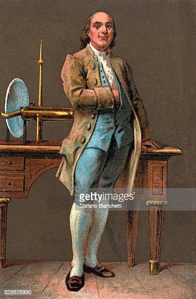 Portrait of Benjamin Franklin American printer publisher scientist inventor statesman and diplomat Chromolithography Private collection
