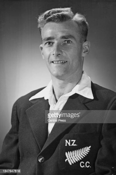 Portrait of Bert Sutcliffe from New Zealand and slow left-arm orthodox bowler and left handed batsman for the touring New Zealand cricket team on...