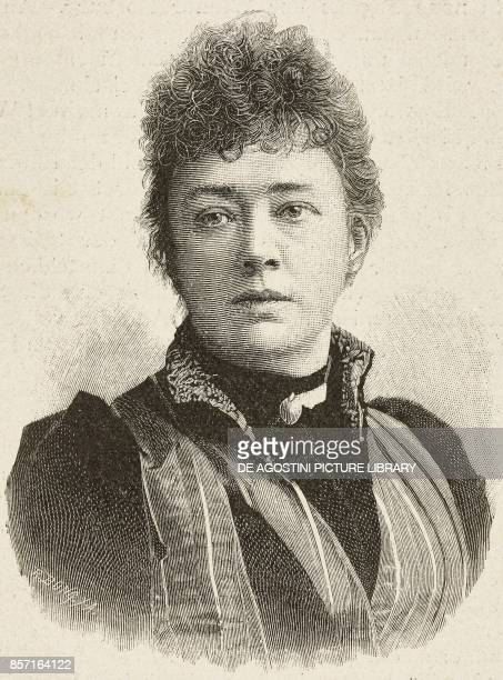 Portrait of Bertha von Suttner Austrian writer woodcut by Richard Bong from Moderne Kunst illustrated magazine published by Richard Bong 18911892...
