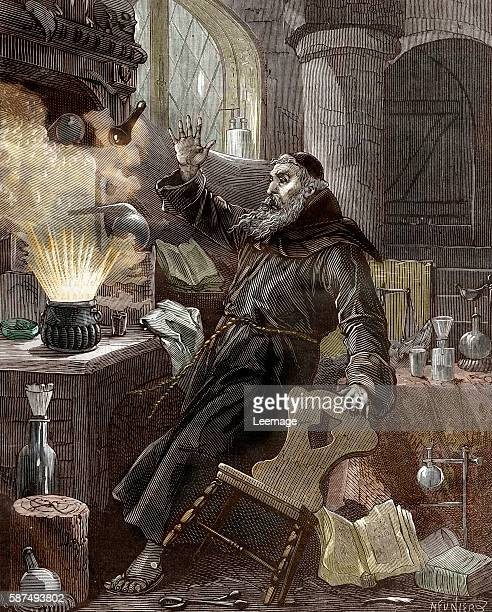 Portrait of Berthold Schwarz legendary German alchemist and franciscan monk credited with the invention of the gunpowder in the 14th century...