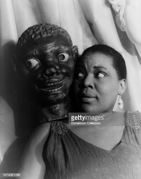 Portrait of Bessie Smith with African mask