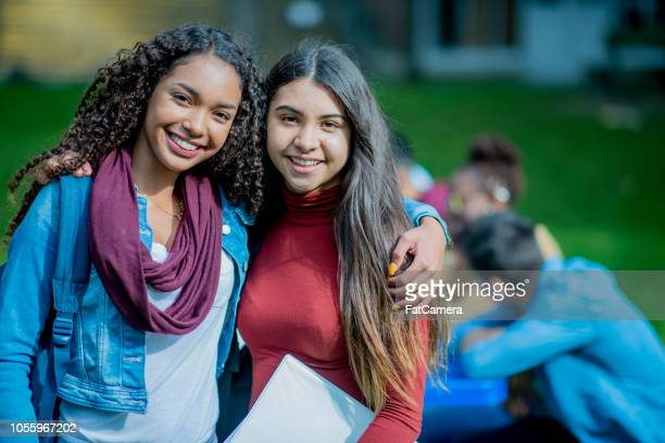 portrait of best friends in college - community college stock pictures, royalty-free photos & images