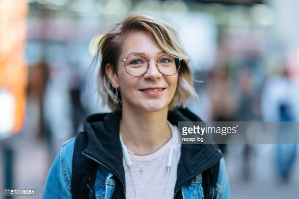portrait of beutiful woman in street - israeli ethnicity stock pictures, royalty-free photos & images