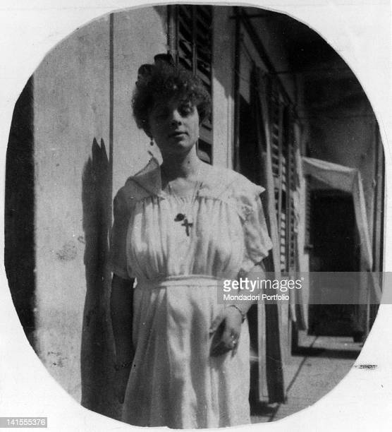 A portrait of Bianca Ceccato pregnant with Glauco the son she conceived with Benito Mussolini Italy 1920