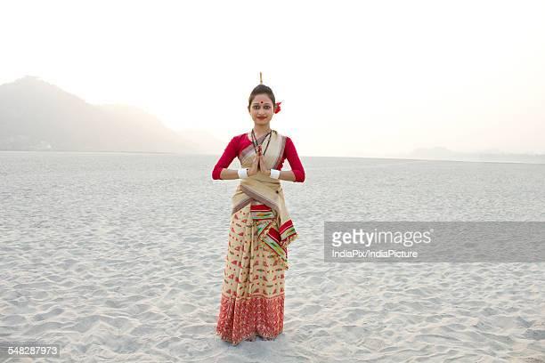 Portrait of Bihu dancer greeting