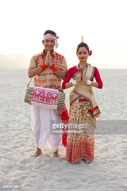 Portrait of Bihu dancers greeting