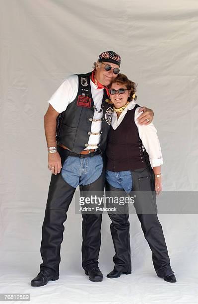 Portrait of biker couple