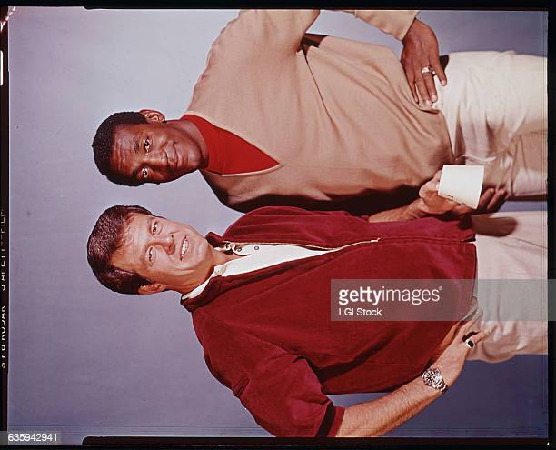 Portrait of Bill Cosby and Robert Culp showing them from the waist up