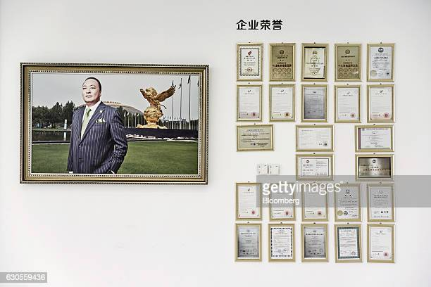 A portrait of billionaire Li Jinyuan chairman of Tiens Group is displayed on a wall next to award certificates at the company's headquarters in...