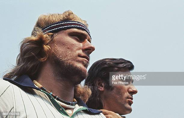 Portrait of Bjorn Borg of the Sweden and Ilie Nastase of Romania during the Men's Singles Final match at the Wimbledon Lawn Tennis Championship on 3...