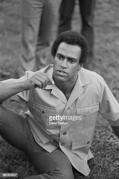 Portrait of Black Panther Party cofounder Huey P Newton taken as he was being interviewed by a Liberation News Service reporter on the campus of Yale...