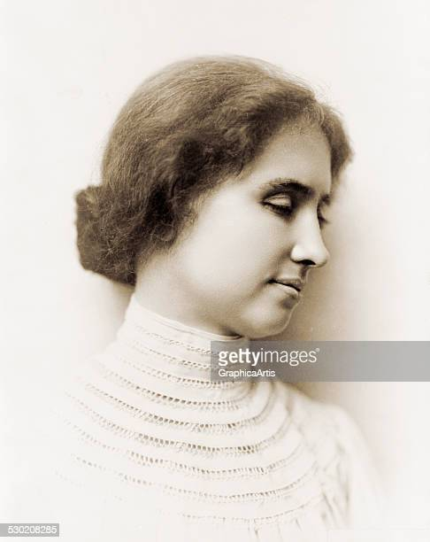 Portrait of blind activist and suffragist Helen Keller in profile 1904