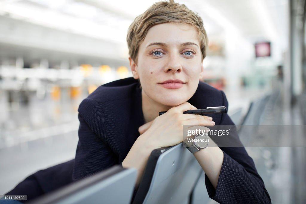 Portrait of blond businesswoman : Stock Photo