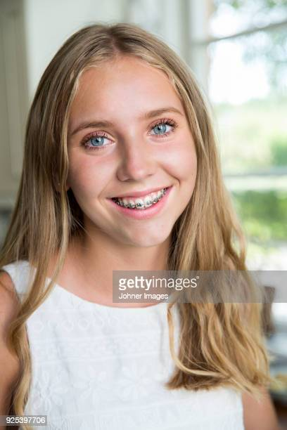 portrait of blond girl - only teenage girls stock pictures, royalty-free photos & images