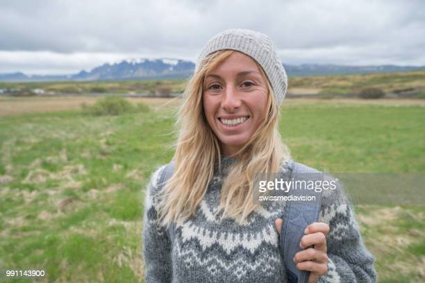 Portrait of blond hair woman in Iceland
