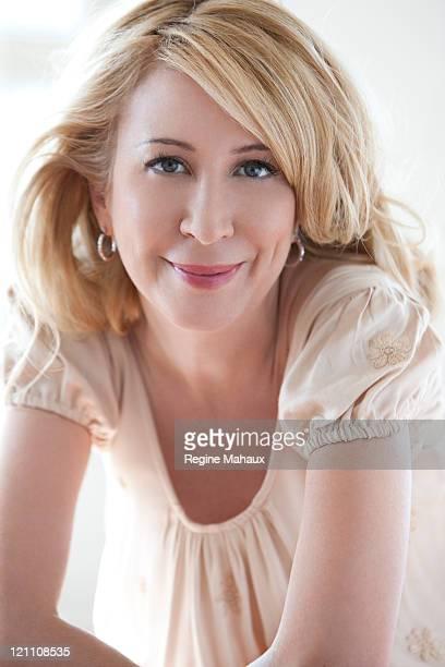 portrait of blond woman smiling