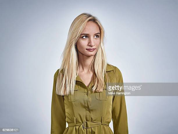 portrait of blonde mixed race female - straight hair stock pictures, royalty-free photos & images