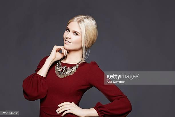 portrait of blonde woman in dress
