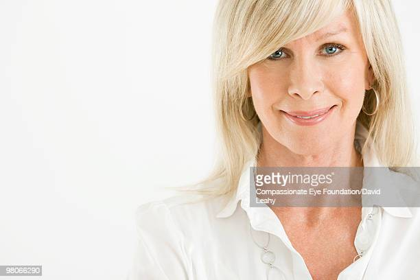 "portrait of blonde woman - ""compassionate eye"" stock-fotos und bilder"