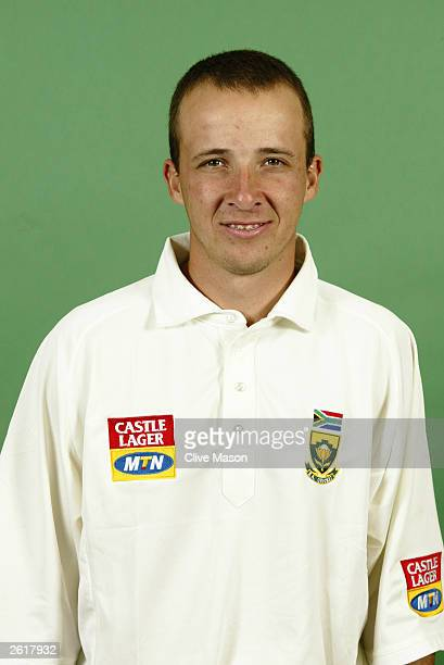 Portrait of Boeta Dippenaar of South Africa taken during the South Africa Cricket Team photoshoot held on June 23 2003 at Sir Paul Getty's Ground in...