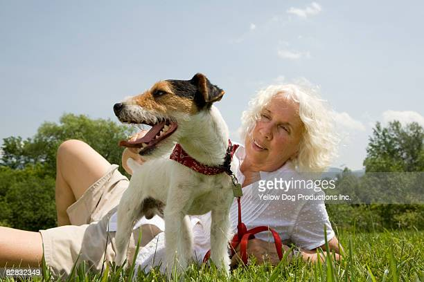Portrait of boomer woman and her Jack Russell