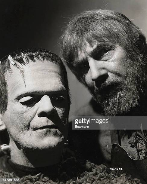 Portrait of Boris Karloff and Bela Lugosi in costume for the Universal Pictures' 1939 production of 'Son of Frankenstein'