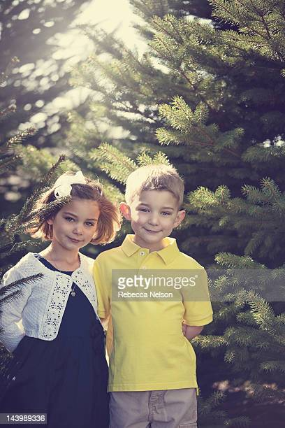 Portrait of boy and girl smiling
