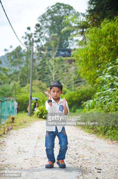 Portrait Of Boy Gesturing While Walking On Road