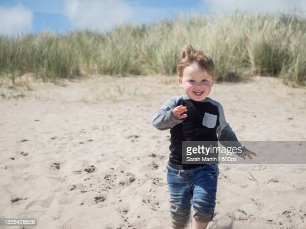portrait of boy holding stick while standing at beach,morpeth,united kingdom,uk - morpeth stock pictures, royalty-free photos & images