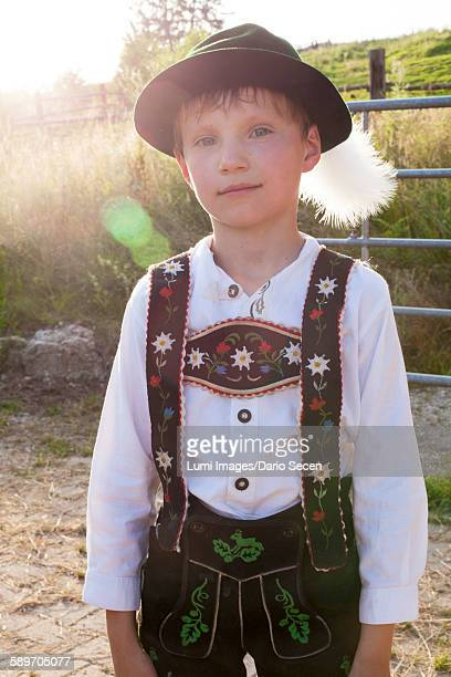 Portrait of boy in traditional Bavarian costume