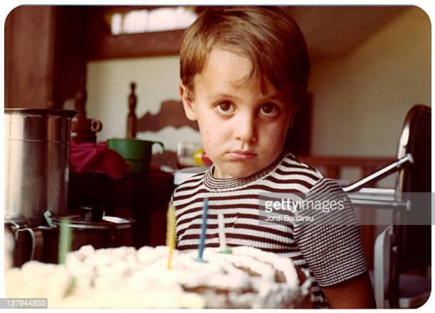 portrait of boy - happy birthday vintage stockfoto's en -beelden