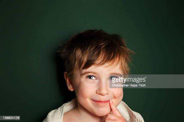 portrait of boy - ピンクの頬 ストックフォトと画像