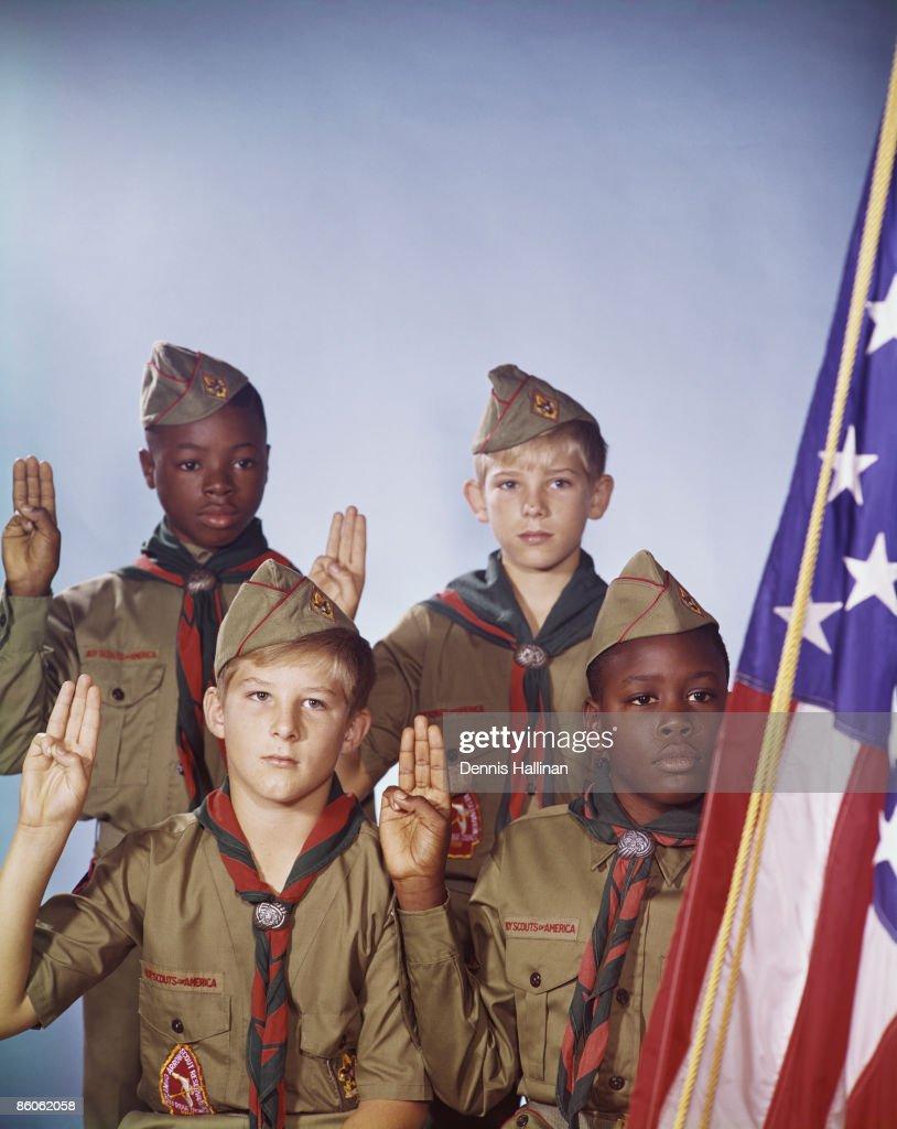 Portrait of boy scouts : Stock Photo